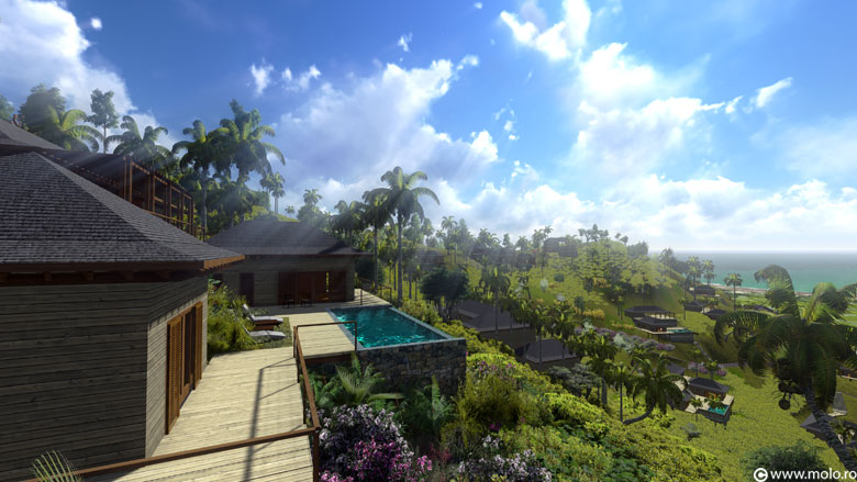 Bali, Jabon Hills, Selong Selo resort - architectural concept, 3D rendering and animation